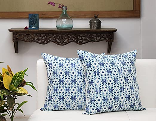 Store Indya, cojines decorativos de cojin de almohadilla de lanzamiento blanco para sofa 45 x 45 Juego de 2 cofres 100% algodon Bloque impreso azul ...