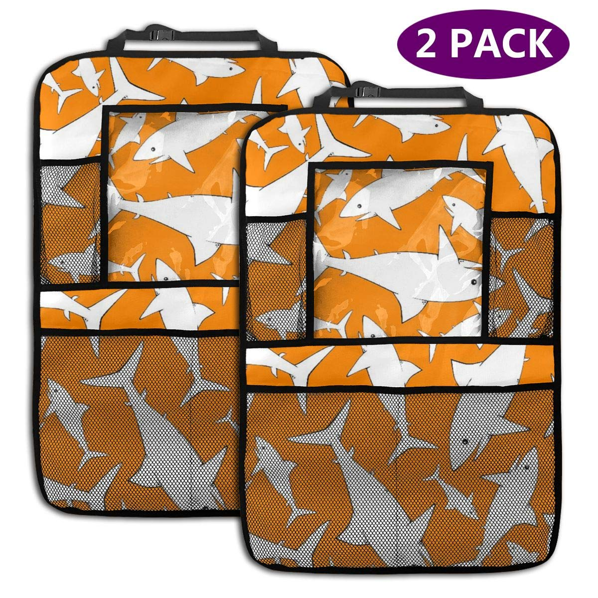 QF6FEICHAN Shark in Orange Car Seat Back Protectors with Storage Pockets Kick Mats Accessories for Kids and Toddlers by QF6FEICHAN