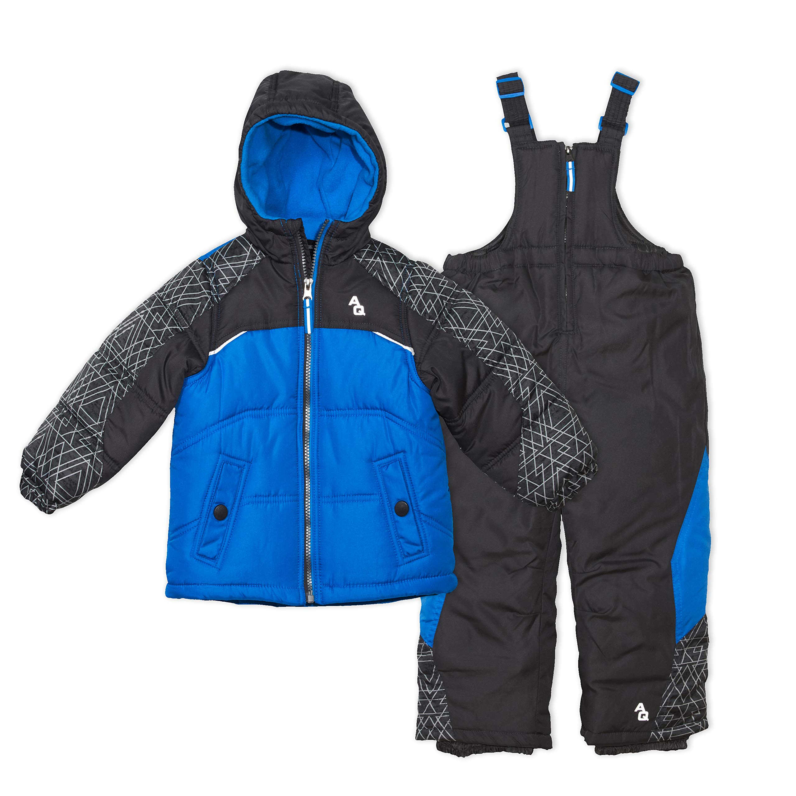 Arctic Quest Toddler Boys Color Block Pattern Fleece Lined Hood and Snow Bib Pants Set, Grey & Turquoise, 2T by Arctic Quest