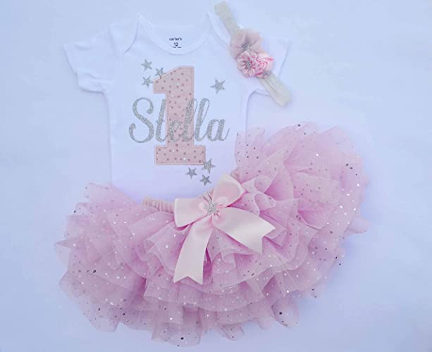 Personalized First Birthday Outfit Girlpink And SilverGirl Cake Smash Outfittwinkle Twinkle Little Star Outfit1st Tututwinkle