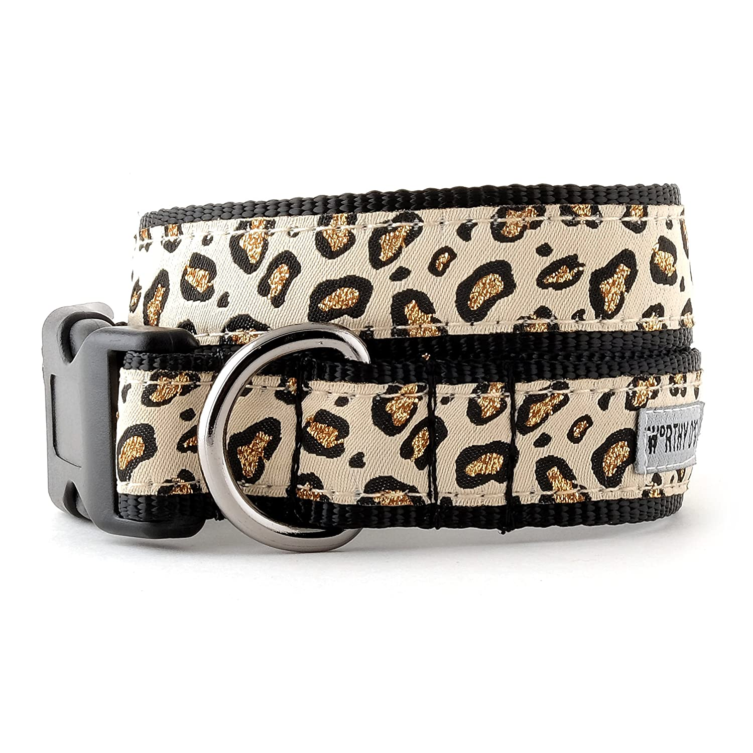 The Worthy Dog Cheetah Animal Print Adjustable Designer Pet Dog Collar, Tan, S