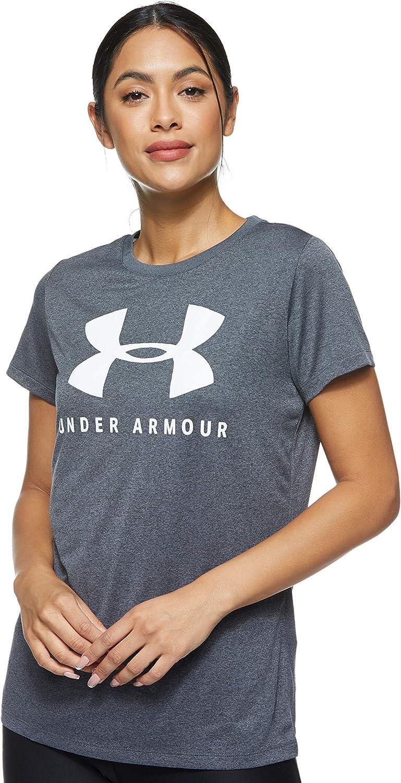Under Armour Damen Sport-Fitness-T-Shirt Graphic Script Logo Fashion Crew pink