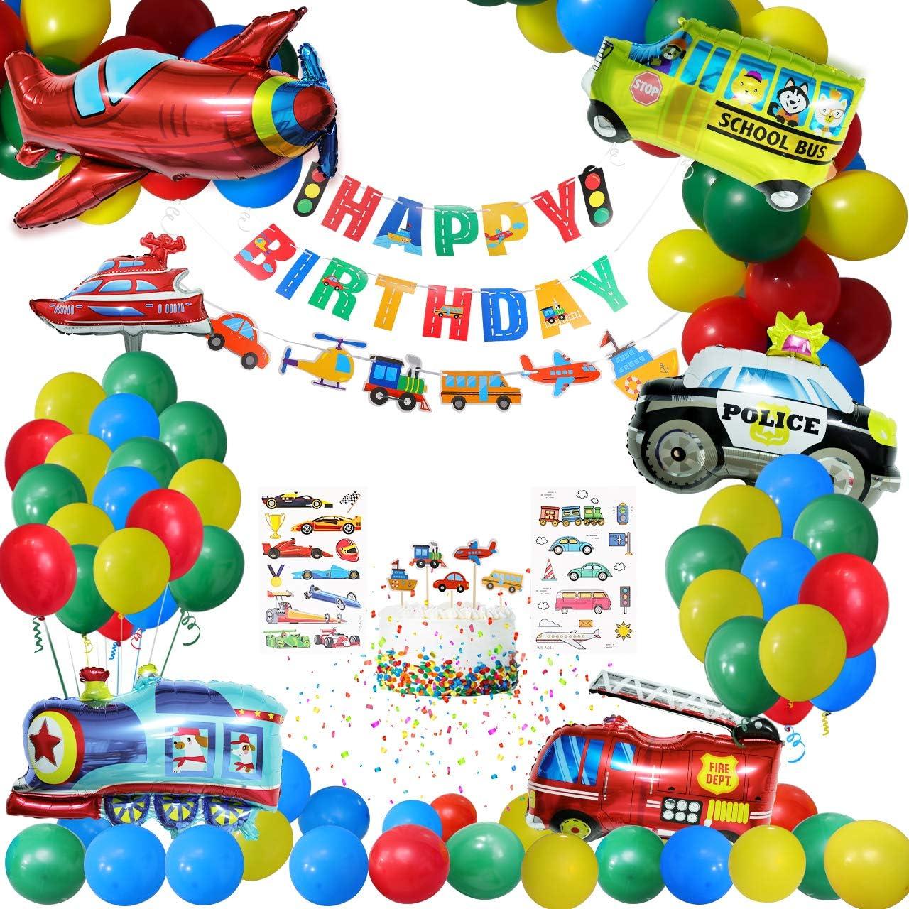 Gafild Globos Decoración de fiesta,Fiesta temática Decoracion Globos de latex Papel de aluminio Transporte Tema Avión Tren Coche de policía Autobús Escolar Yate Camión de Bomberos para Niño Cumpleaños