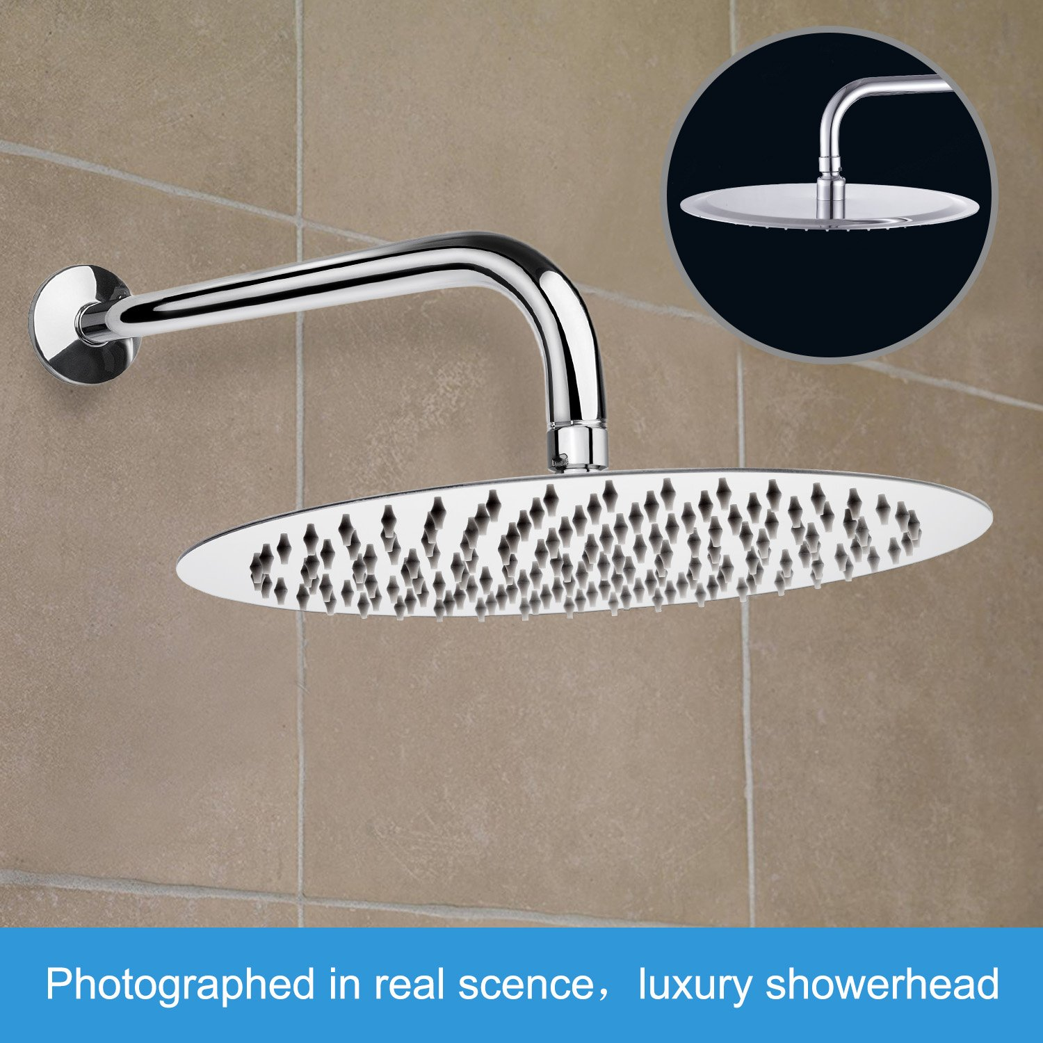 12 Inch Shower Head with 15 Inch Shower Arm, NearMoon Ultra-Thin Stainless Steel Rainfall Showerhead, Round Bath Shower With Fixed Arm, Circular Lager Bathing Head