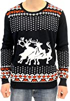 Ugly Christmas Sweater Humping Reindeer Hearts Adult Black Sweater
