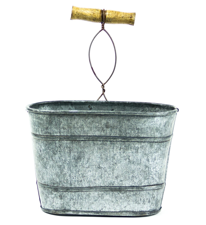 Amazon.com: Farmhouse Galvanized Hanging Bucket, Small: Home & Kitchen