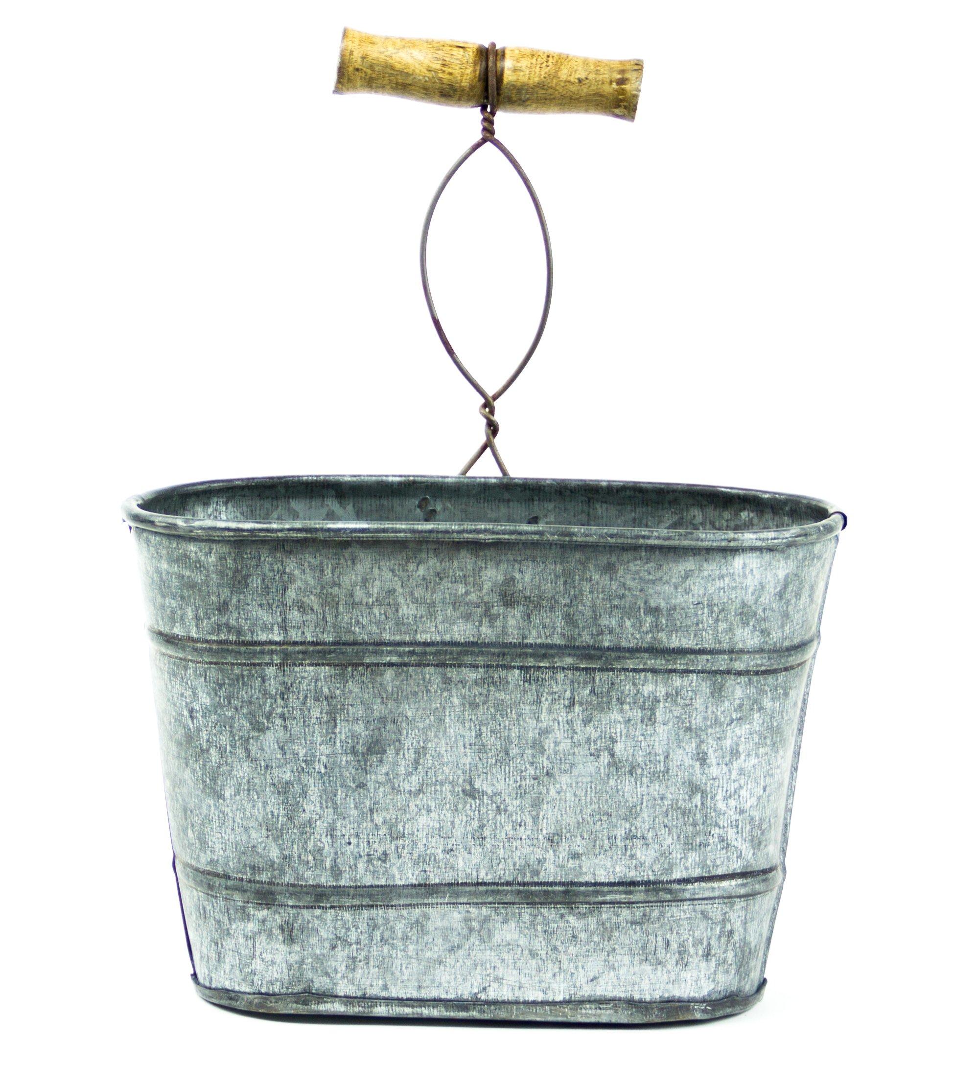 Farmhouse Galvanized Hanging Bucket, Small