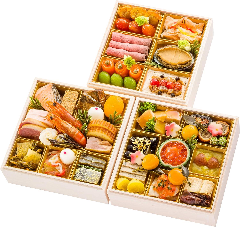 富山 千里山荘 おせち料理 2021 和洋三段重 44品 盛り付け済み 冷凍おせち 2人前~3人前 お届け日:12月30日