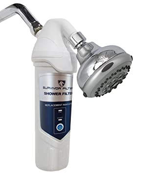 survivor filter universal shower filter with triple filter cartridge and replacement indication system