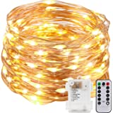 Kohree Fairy String Lights with Remote Control 60 LEDs AA Battery Powered String Copper Wire 20ft/6M,Seasonal Decor Rope Lights