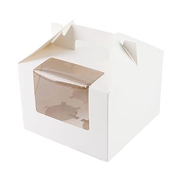 Ibex Retail 10 x Blanco Cajas para Cupcakes con Capacidad para 4 Cupcakes: Amazon.es: Hogar