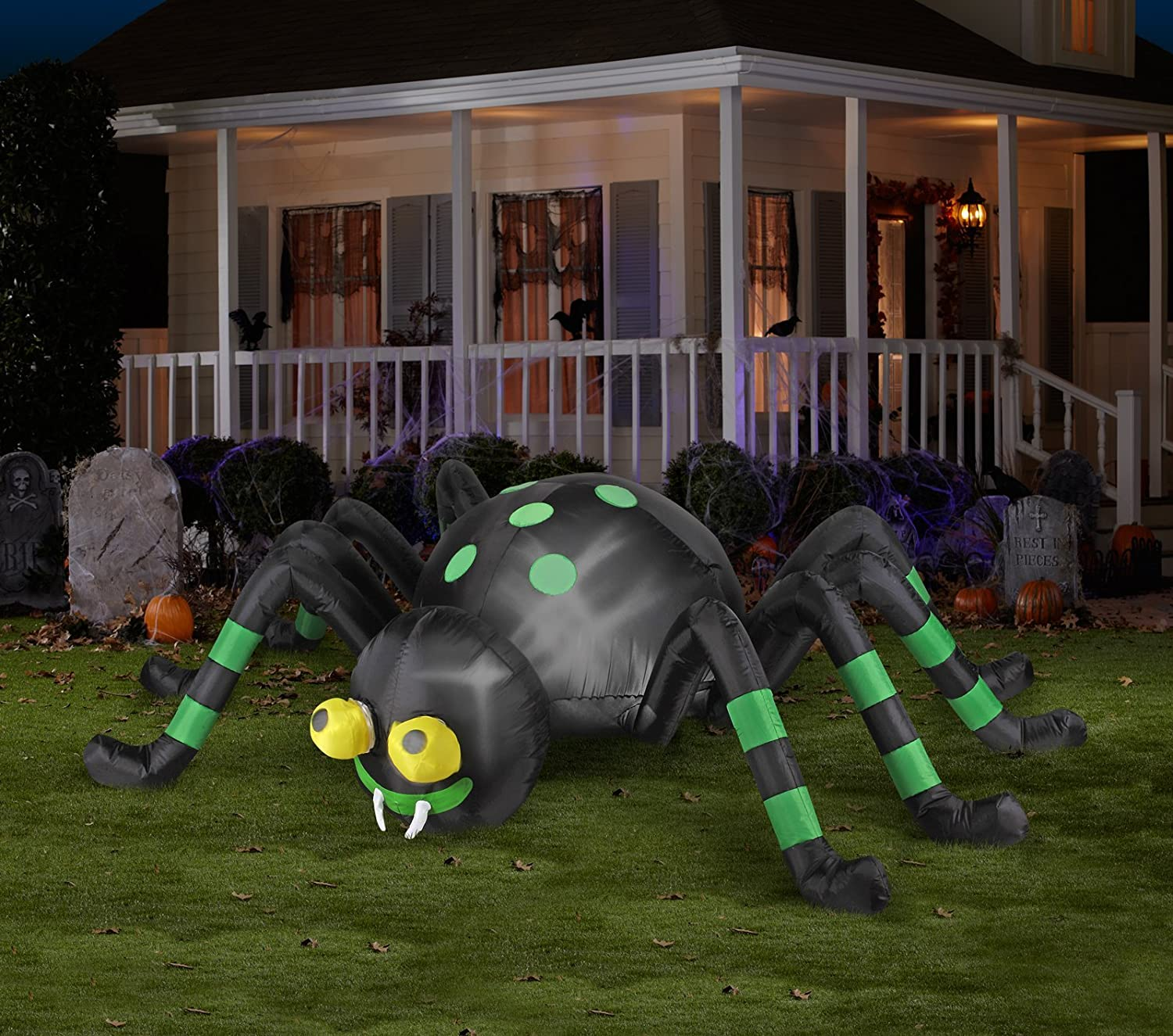 amazoncom halloween inflatable 8 animated spider with spinning eyes by gemmy patio lawn garden - Halloween Inflatable Yard Decorations