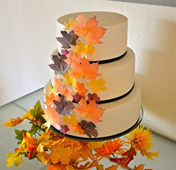 Edible Fall Leaves Assorted Set Of 32 Wafers Cake Cupcake Toppers