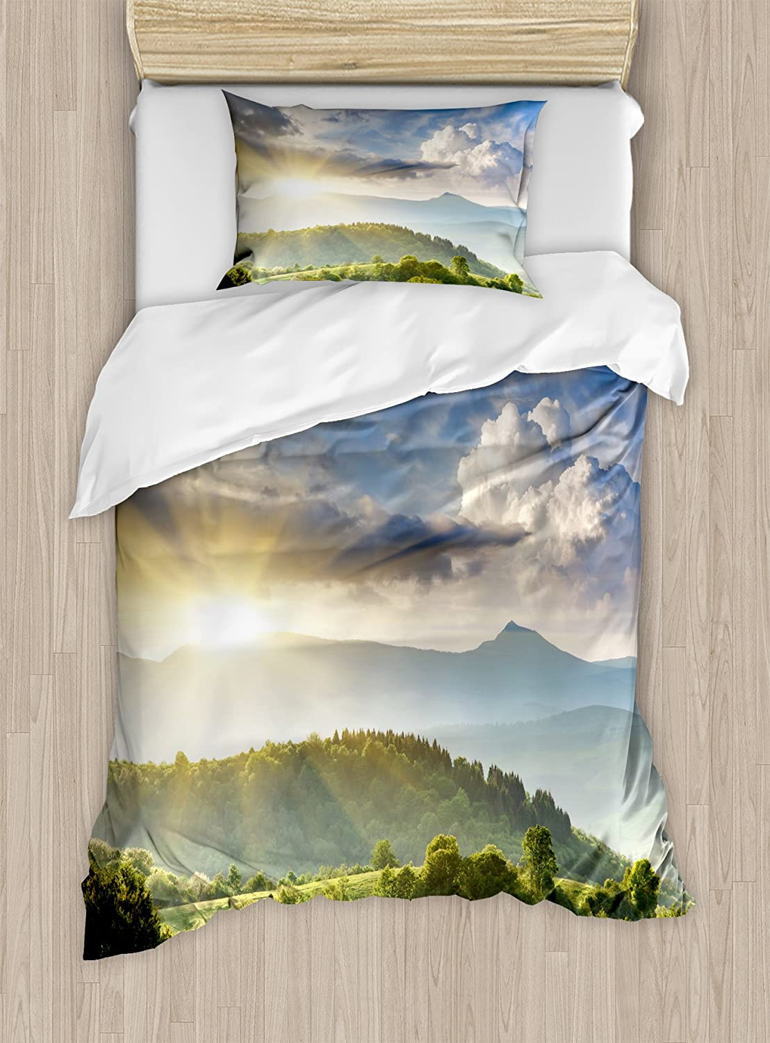 Ambesonne Nature Duvet Cover Set, Rising Sun Clouds Over Forest Hill Woodland Idyllic Countryside View, Decorative 2 Piece Bedding Set with 1 Pillow Sham, Twin Size, Blue Green