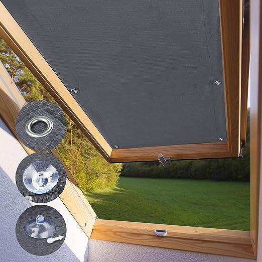 Kinlo Store Pour Fenêtre De Toit Velux S06 Et 606 96 X 93 Cm Gris Velux Rideau Occultant Complète Avec Ventouses Sans Perçage Protection Solaire Au