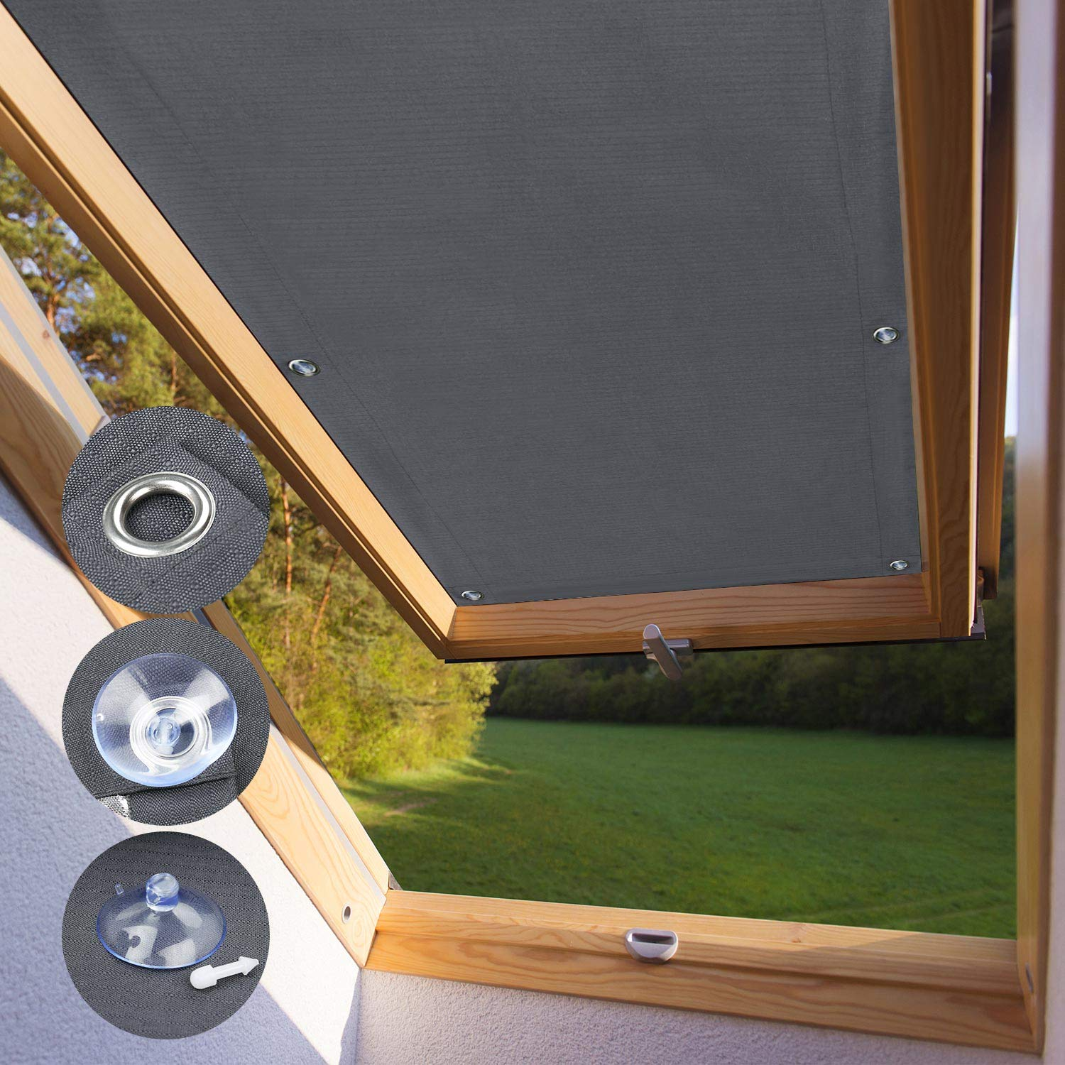 Kinlo 96 93cm Blackout Roof Skylight Blind Window Curtain For Velux S06 606 Roof Windows With Sucker Structure No Drill Silver Plated Easy Fit Dark Grey Buy Online In Cayman Islands At