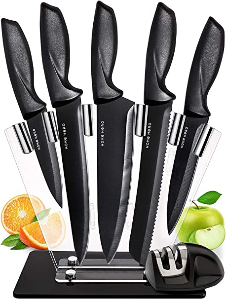 Chef Knife Set Knives Kitchen Set - Stainless Steel Kitchen Knives Set Kitchen Knife Set with Stand - Plus Professional Knife Sharpener - 7 Piece ...