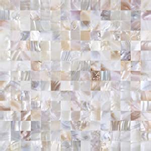"Jhana Tile - DIY Peel and Stick 3D Wall Decor Genuine Mother of Pearl Shell Mosaic Tile for Kitchen Backsplash, Bathroom Accent Wall, 12""X12""X0.079"" (2MM) (Natural Color, Lot of 50 Sheets)"