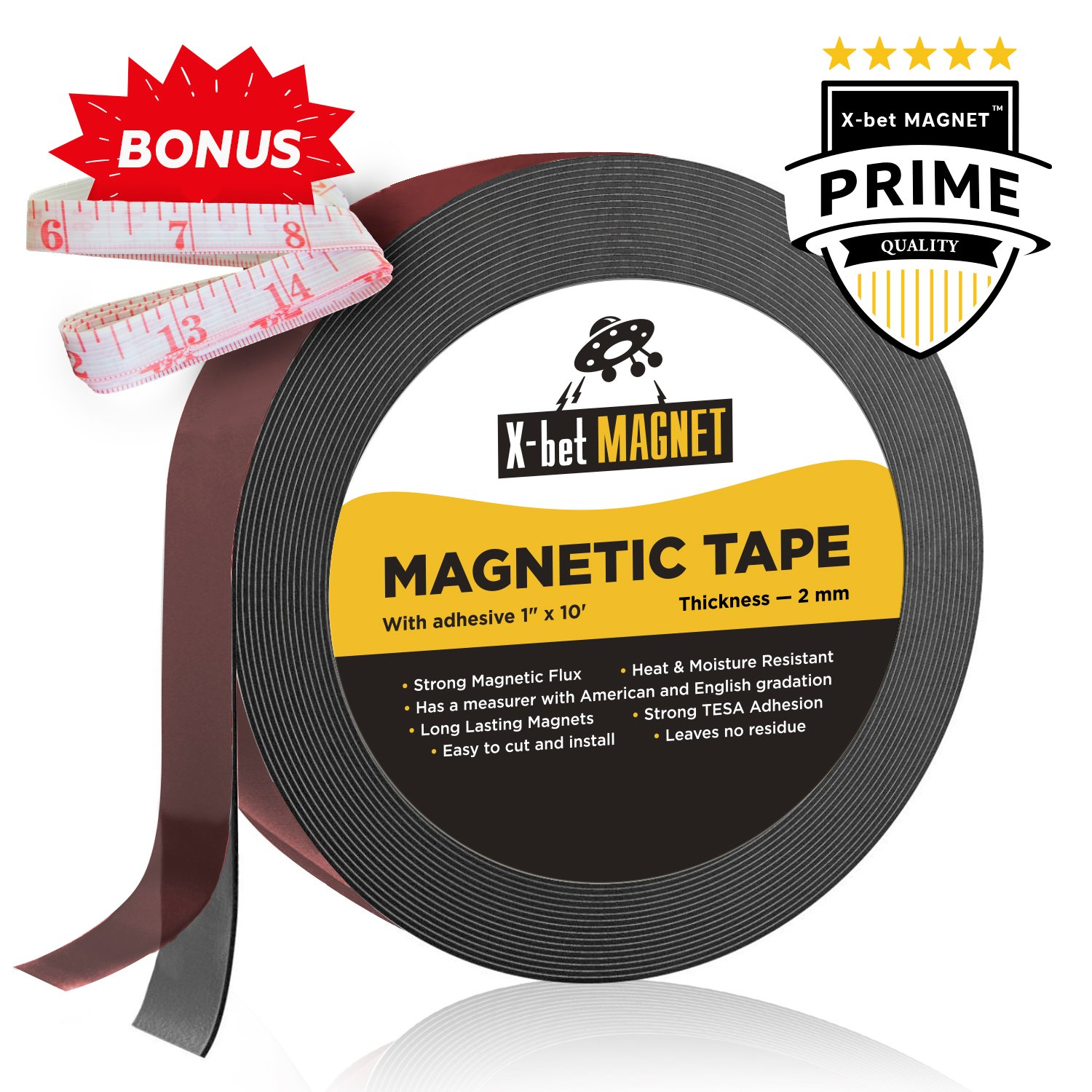 Flexible Magnetic Tape - 1 Inch x 10 Feet Magnetic Strip with Strong Self Adhesive - Ideal Magnetic Roll for Craft and DIY Projects - Sticky Magnets for Fridge and Dry Erase Board X-bet