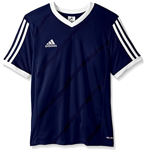 adidas Performance Boys Youth Tabela 14 Short Sleeve Jersey, Small, Dark  Blue/White
