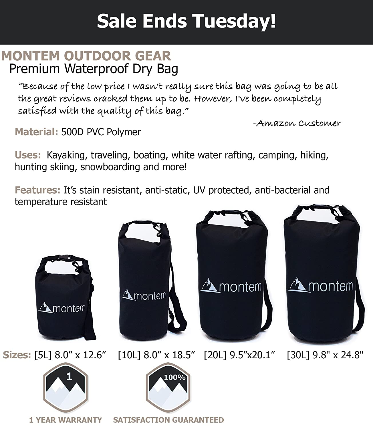 415fdc1ffcba Amazon.com   Montem Premium Waterproof Bag   Roll Top Dry Bag - Perfect for  Kayaking   Boating   Canoeing   Fishing   Rafting   Swimming   Camping ...
