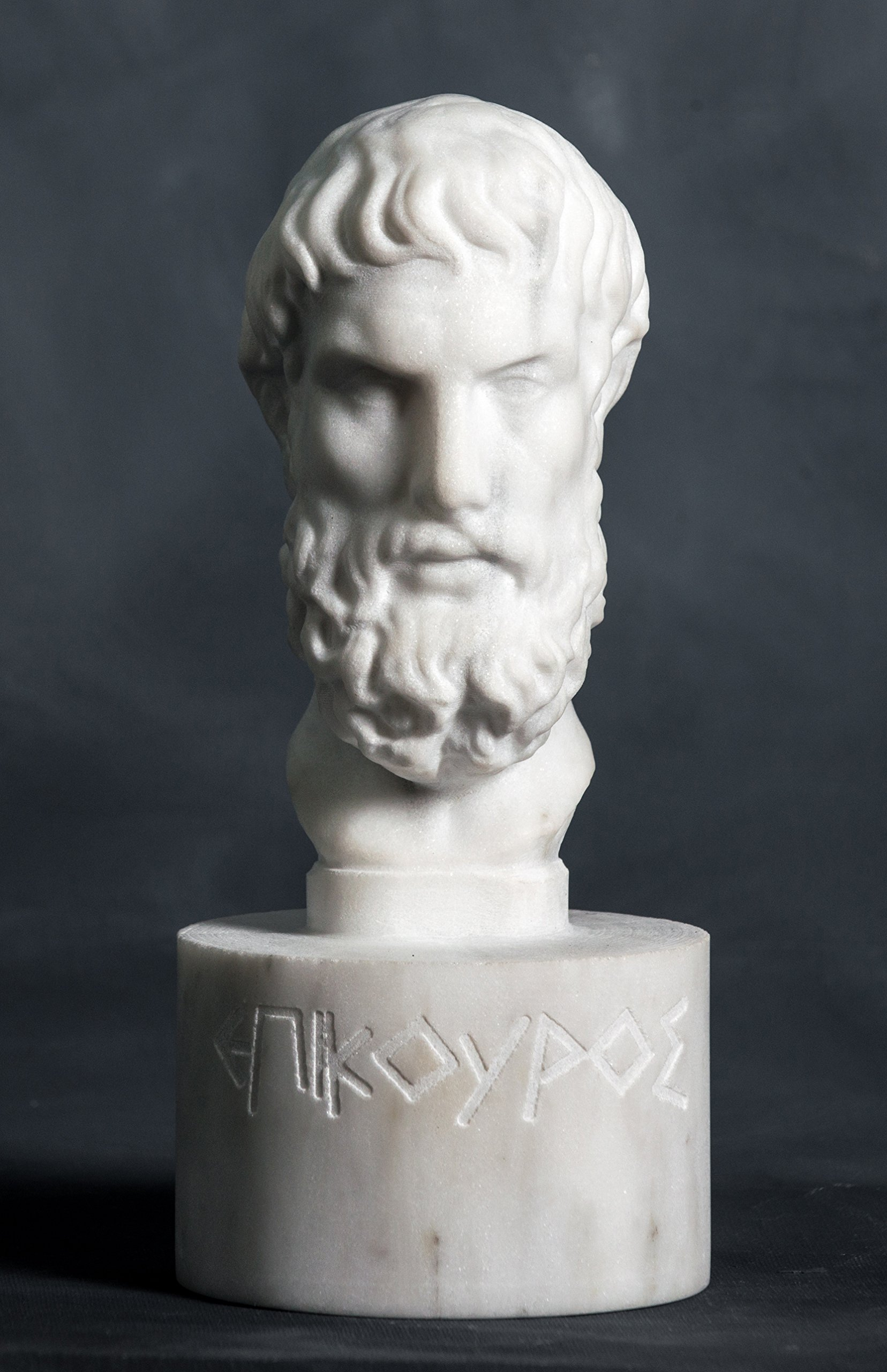 Marble Bust of Philosopher Epicurus Carved Greek Statue Artist Sculpture