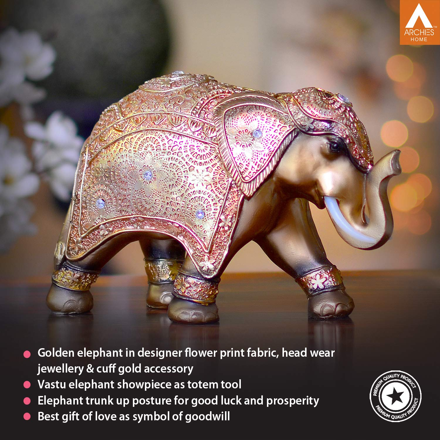 Buy Archies Golden Elephant Showpiece Finest Quality Traditional