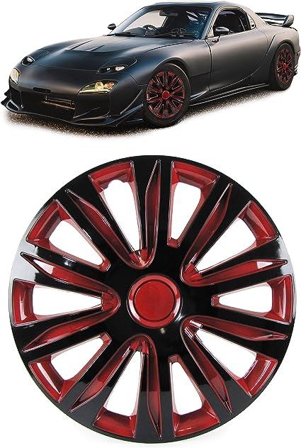 Tenzo R 34040 Radkappen Radzierblenden Für Stahlfelgen Set Tenzo R Xii 14 Zoll Schwarz Rot Auto