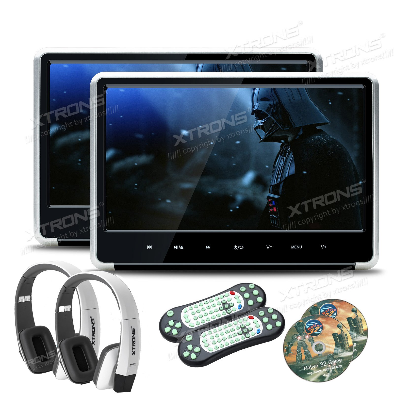 XTRONS Silver 2x 11.6 Inch Pair HD Digital Touch Panel Car Auto Headrest Active DVD Player Kid Games Built-in HDMI Port New Version White Headphones Included