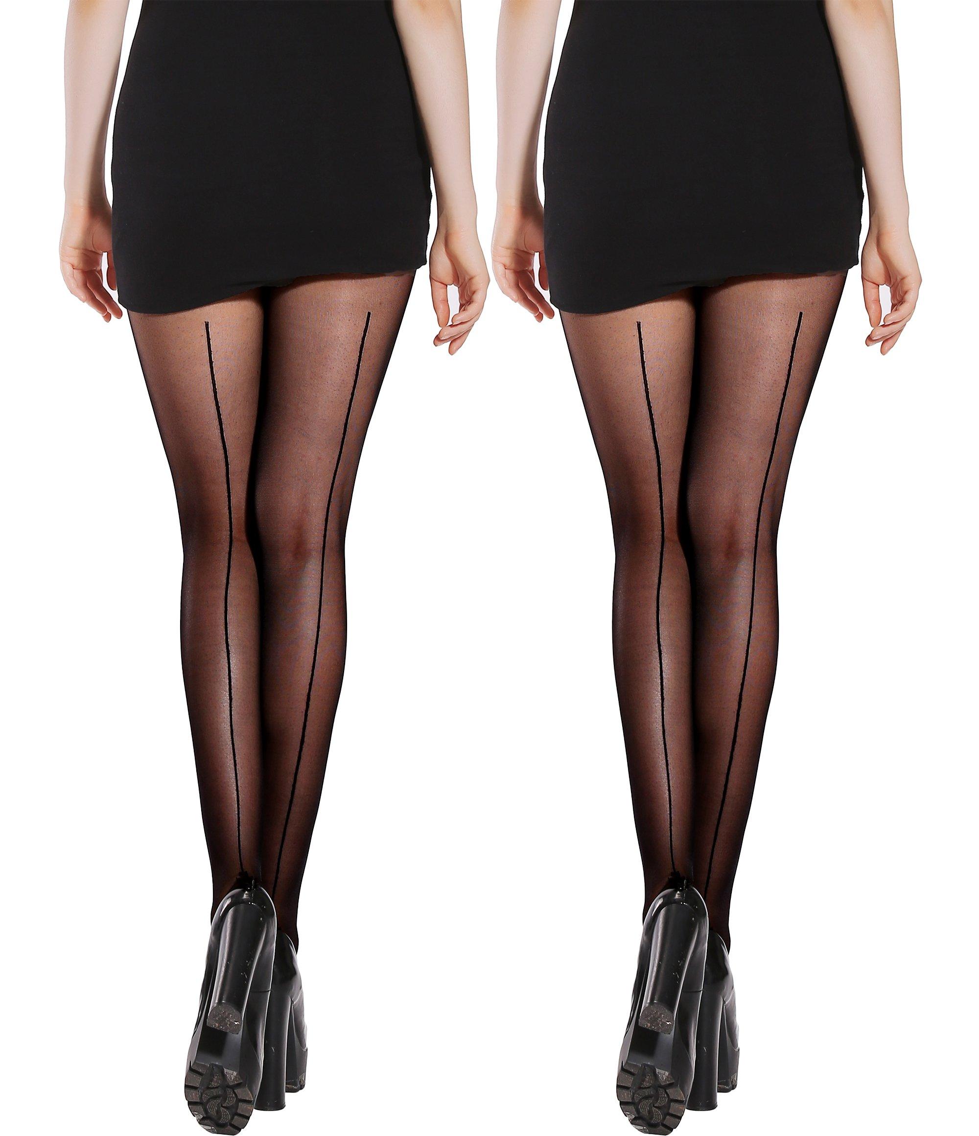 Semi Sheer Pantyhose Back Seam &Bikini Crotch Tights Shaping Leg Stockings 2 Pack (Black×2, C/D)