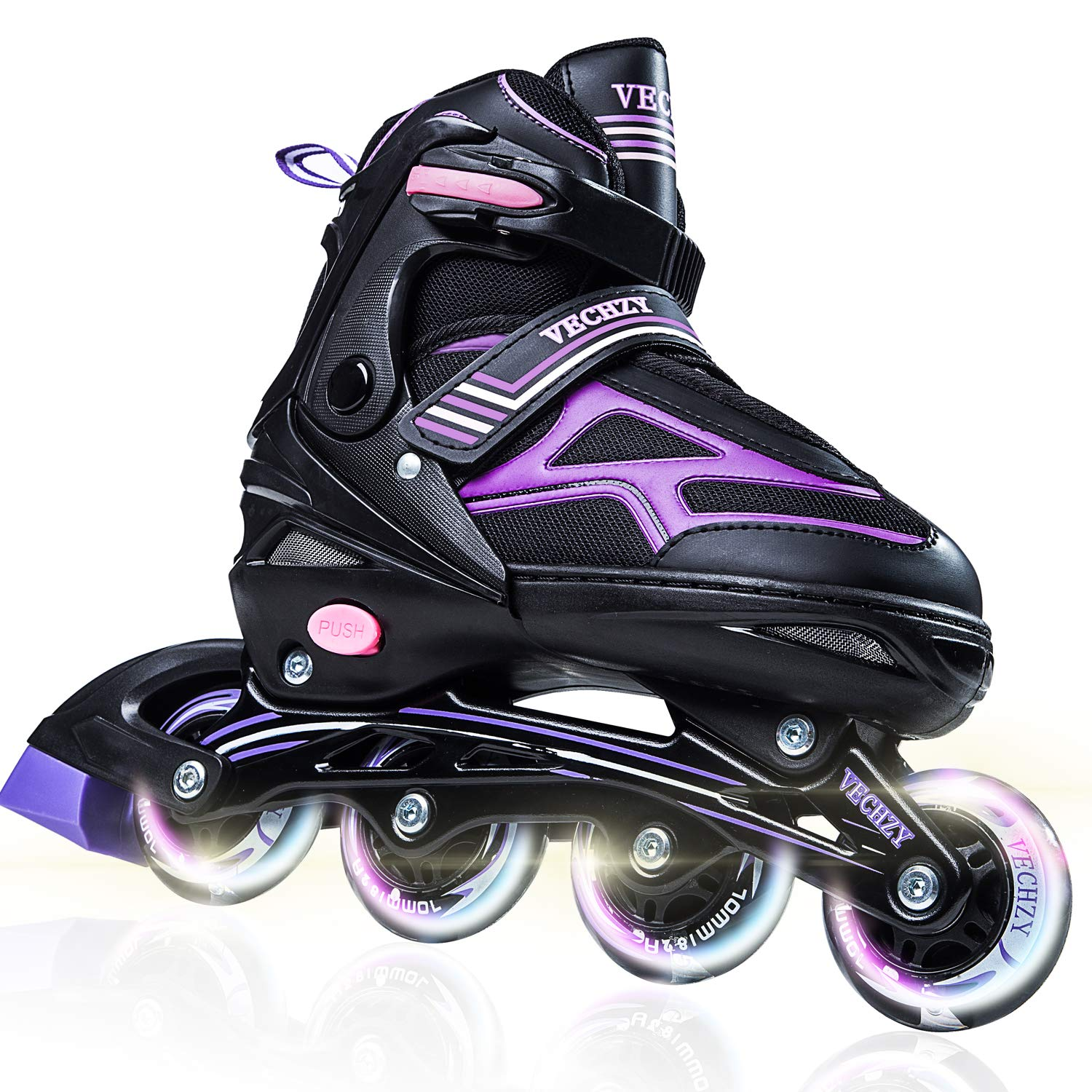 VECHZY Comfortable Adjustable Inline Skates with Light up Wheels, Beginner Illuminating Rollerblades for Kids, Women and Men