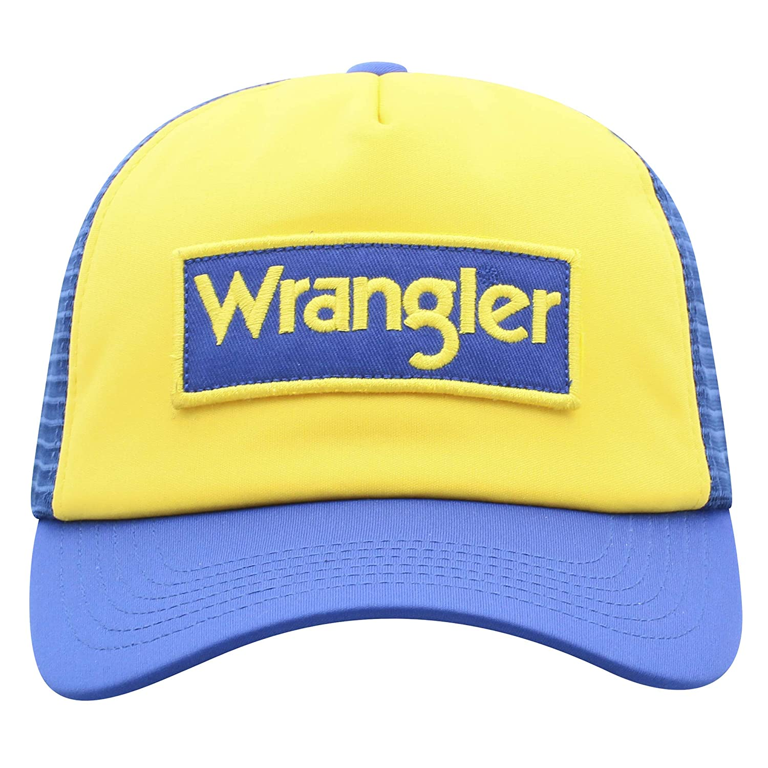 f5e57a99a Wrangler Men's Block Patch Logo Mesh Back Trucker Cap at Amazon ...
