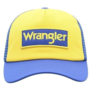 07e12b3783d47 Image Unavailable. Image not available for. Color  Wrangler Men s Block  Patch Logo Mesh Back Trucker Cap