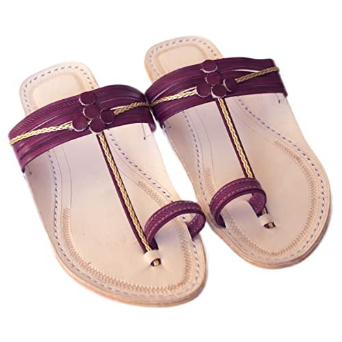39ab8b5e54f62 Amazon.com: Handmade kolhapuri leather sandals,flats,bohemian ...