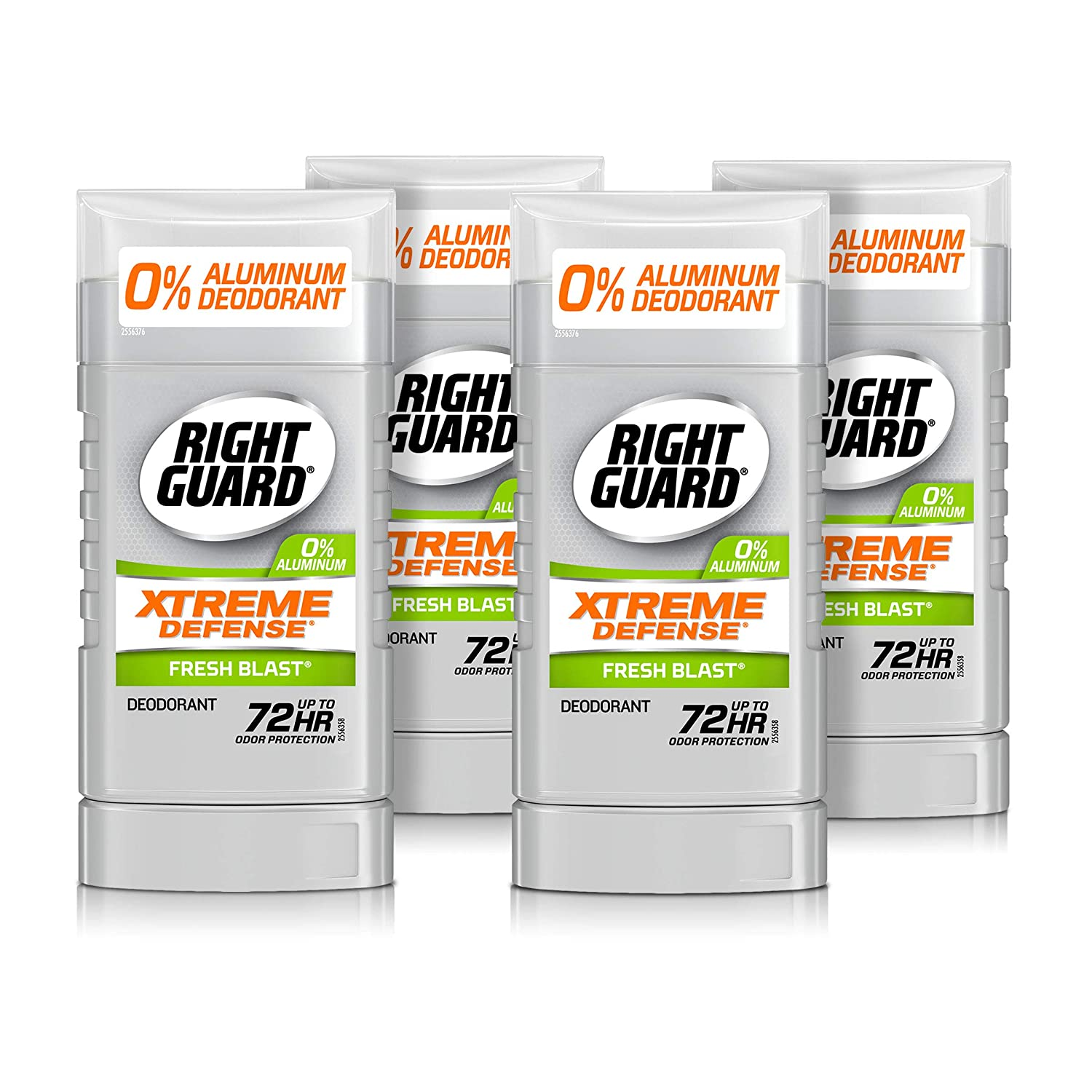 Right Guard Xtreme Defense Aluminum-Free Deodorant Invisible Solid Stick, Fresh Blast, 3 Ounce (Pack of 4)