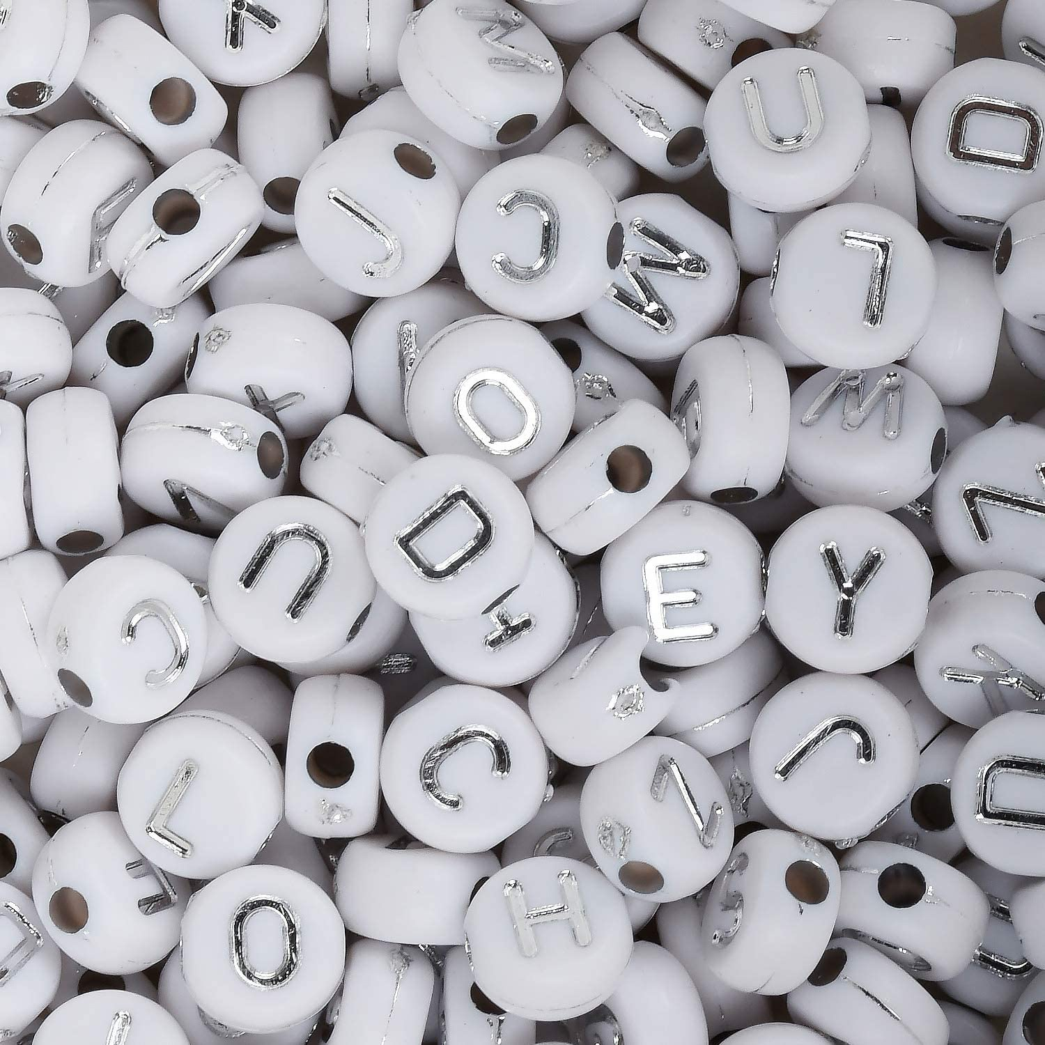 WHITE acrylic alphabet beads single letter A flat round 7 mm Z /& mixed