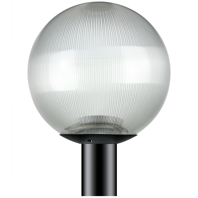 Sunlite DOD/12GL/BK/CL/MED 12'' Decorative Outdoor Neckless Globe Post Fixture, Black Finish, Clear Prismatic Lens, 3'' Post Mount (Not Included), 12''