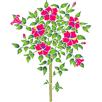 Árbol de flores de hibisco plantilla – reutilizable de pared plantillas para pintar – mejor calidad