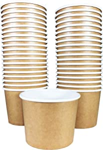 Paper Ice Cream Cups - 50-Count 11-Oz Disposable Dessert Bowls for Hot or Cold Food, 11-Ounce Party Supplies Treat Cups for Sundae, Frozen Yogurt, Soup, Brown
