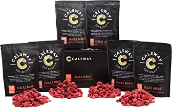(Pack of 6) 100 Calories of FRAGILE RASPBERRIES by Calsway - 100% Freeze Dried Whole Berries