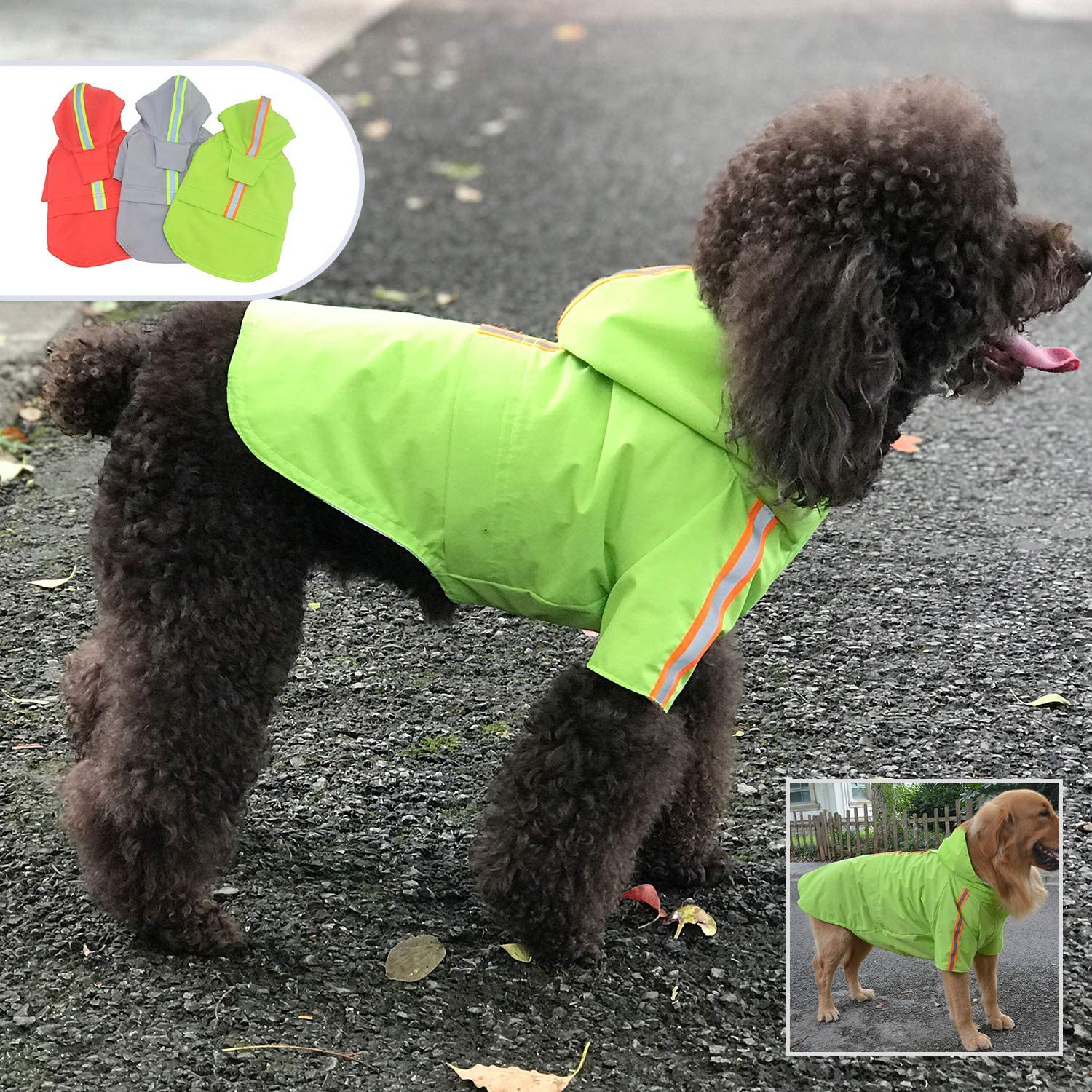 Lightweight Dog Rain Jacket Zipper Closure Rain Poncho with Reflective Strip for Small Medium Large Dogs Lobster Red XXXXL lovelonglong Fashion Hooded Pet Dog Raincoat