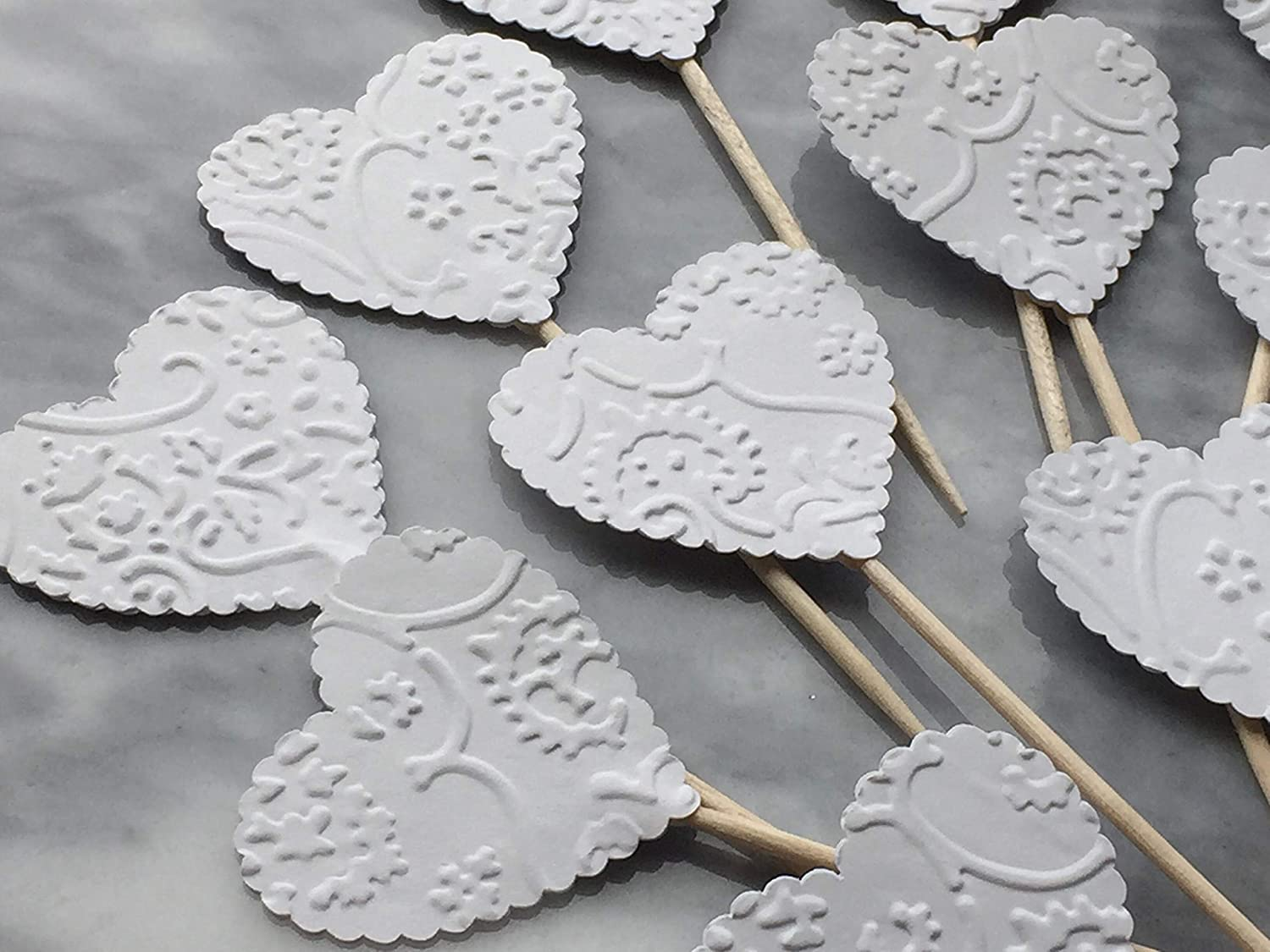 Amazon Com White Heart Cupcake Toppers French Lace Embossed Food