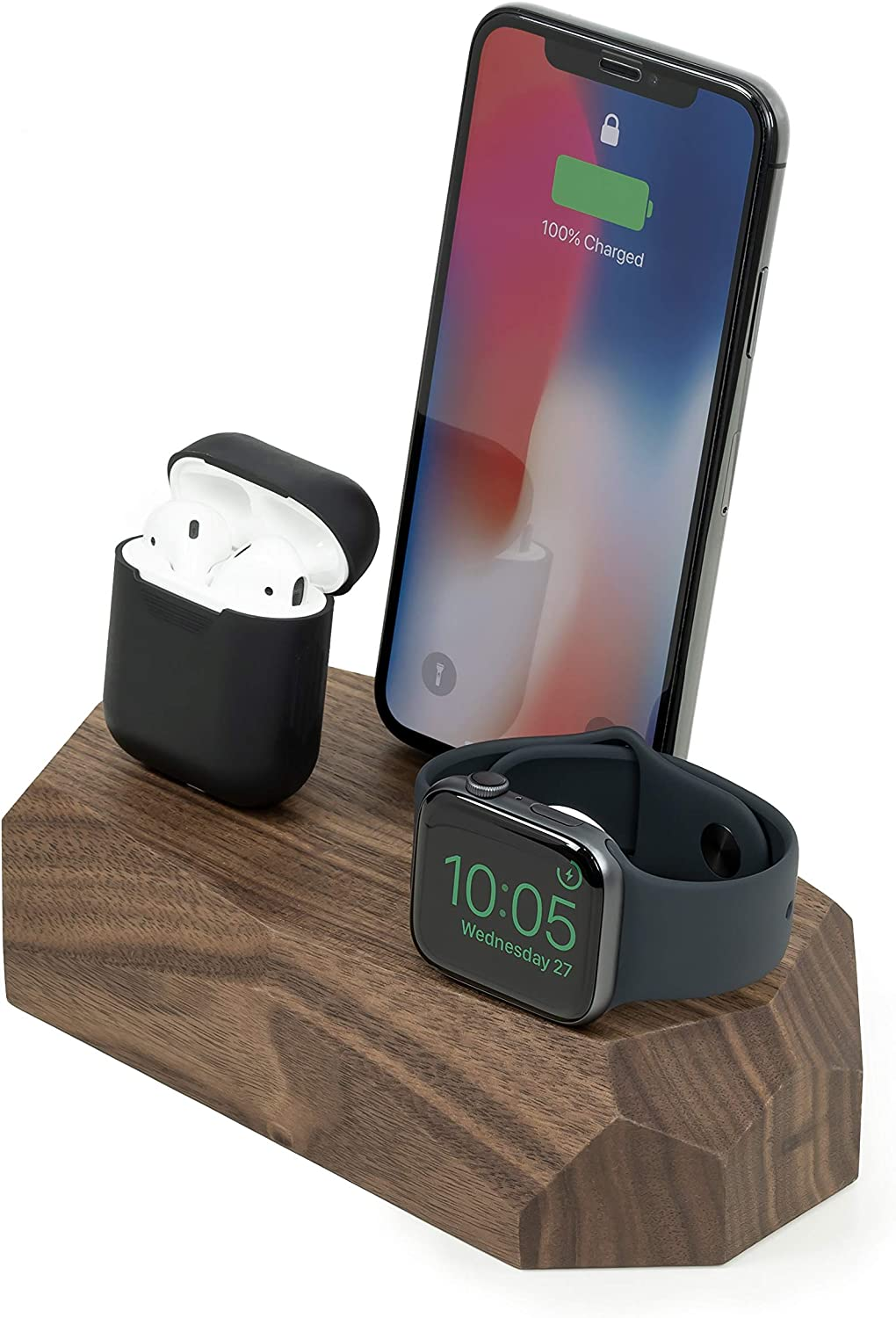 Oakywood Geometric Solid Wood Triple Charging Dock for iPhone, AirPods, and Apple Watch {Walnut}