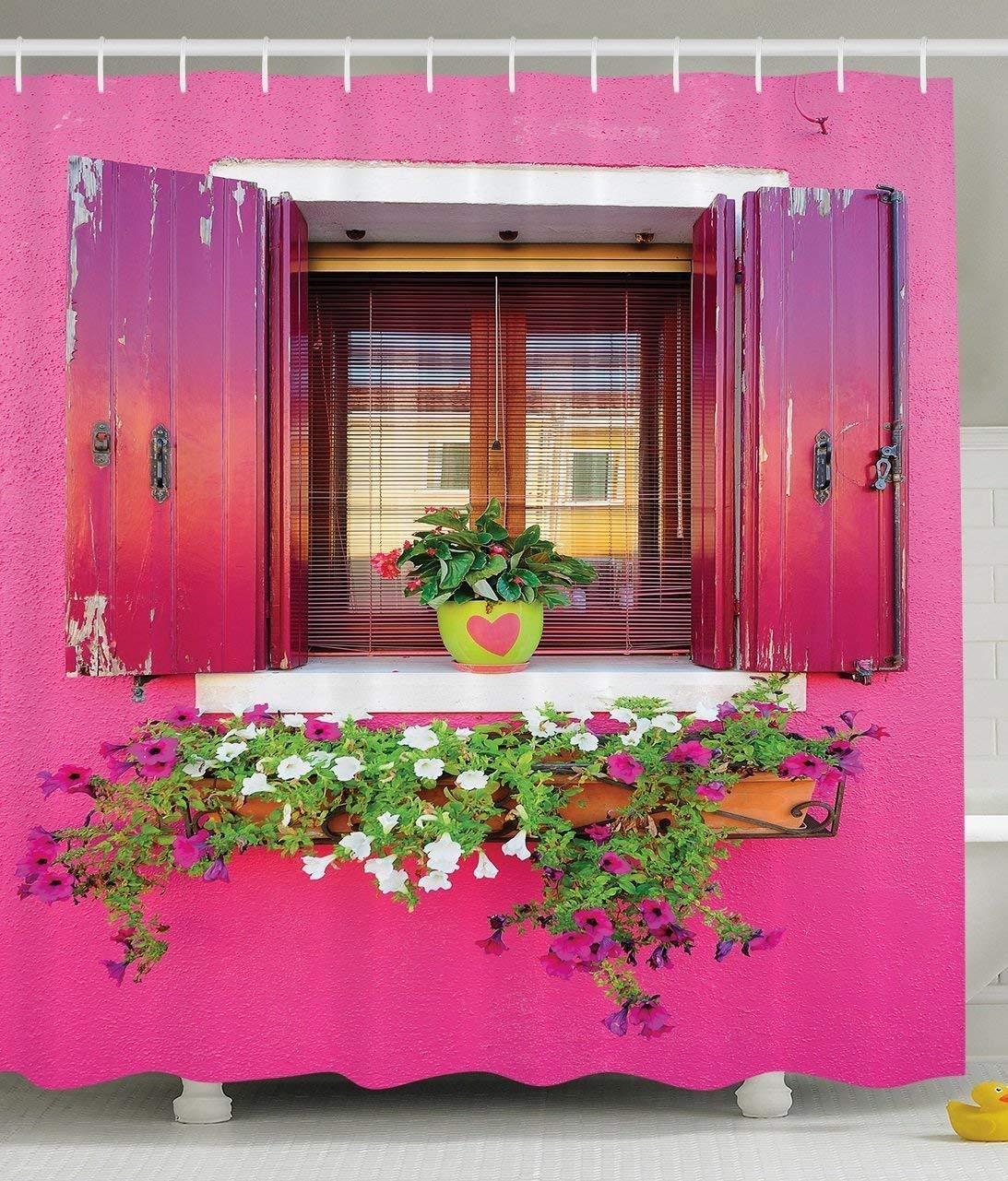 rosado Romantic Shower Curtain Dreams Romantic rosado Atmosphere Decor Lovers House Wooden Windows Hearts Flowers Bougainvilleas Fantastic Bathroom Decorations Digital Printed Photo Print Fabric Fuchsia verde White 72 X 72