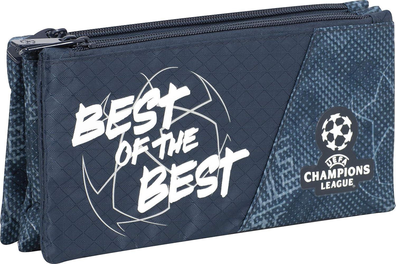 Sportandem Champions The Best Tres, Estuche Escolar Triple con Compartimentos Independientes de Gran Capacidad con Cremallera Metalica Gruesa-Medidas 23 x 11 x 4 c, Color Negro (SPTD408073): Amazon.es: Juguetes y juegos