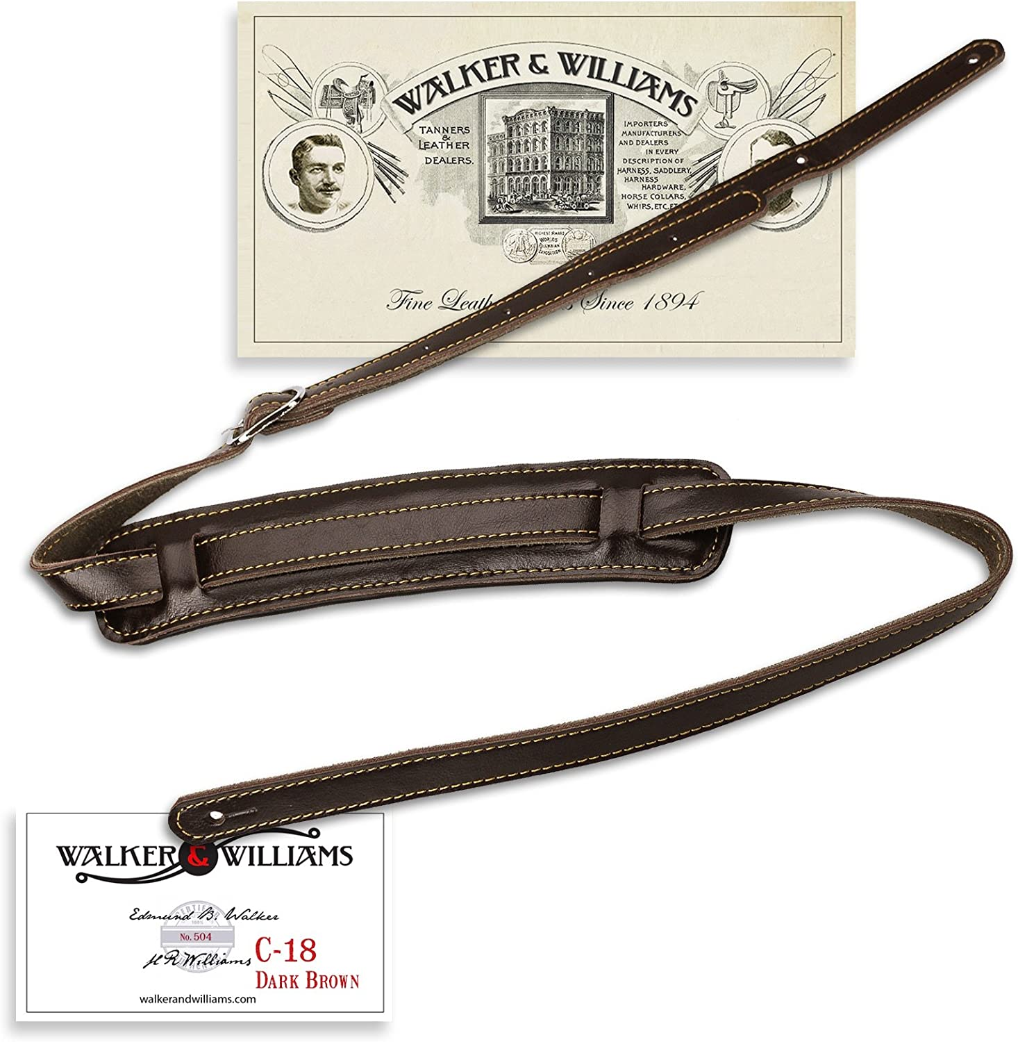 Walker & Williams Vintage Slash Style Guitar Strap Premium Dark Brown Leather Extra Long Up To 61""