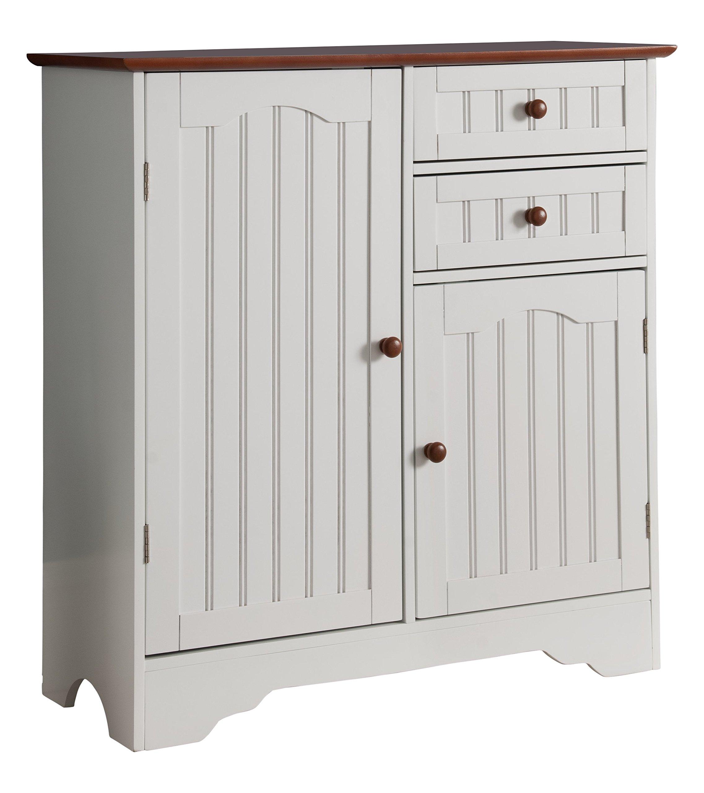 White Kitchen Buffet Cabinet: Kings Brand White/Walnut Finish Wood Kitchen Storage