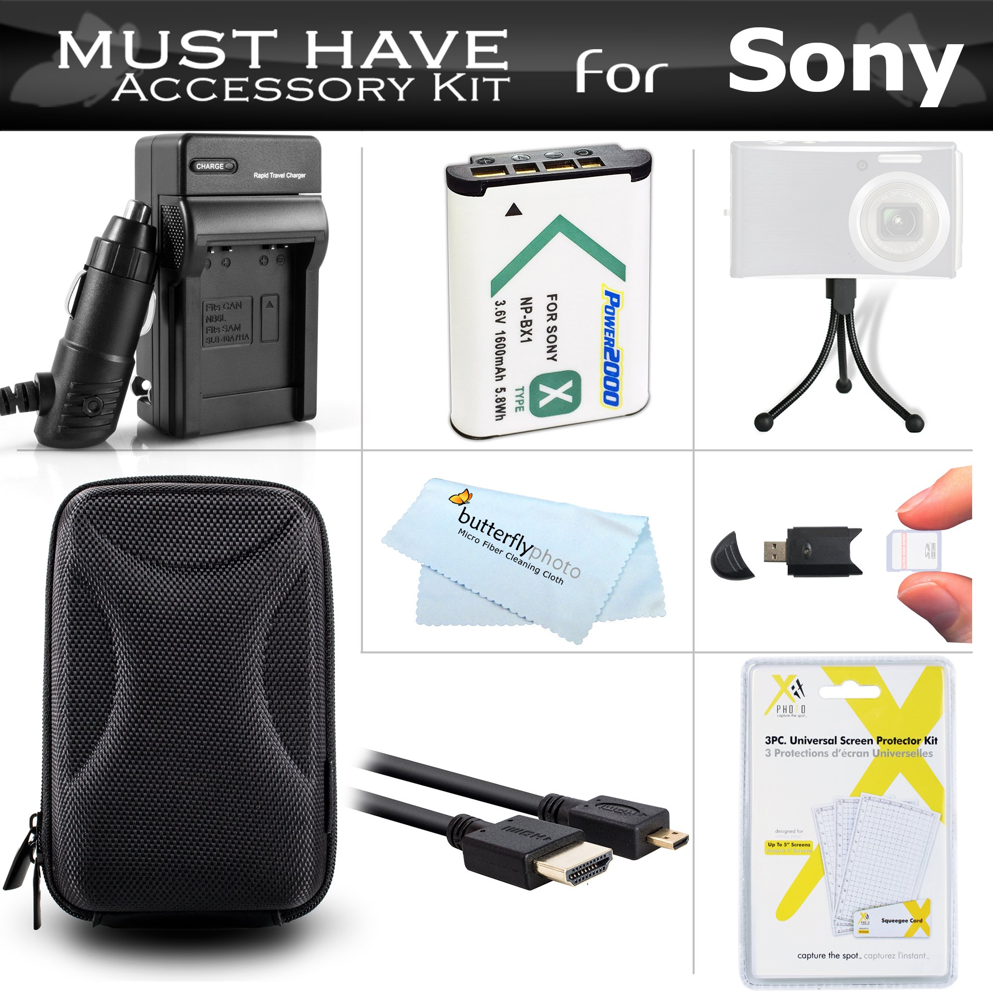 Must Have Accessory Bundle Kit For Sony DSC-RX100 V, DSC-RX100M III, DSC-RX100 IV, DSC-WX350, DSC-HX50V/B, DSCHX80/B, DSCHX90V/B, DSCWX500/B Digital Camera Includes Replacement NP-BX1 Battery + Charger + Case + More