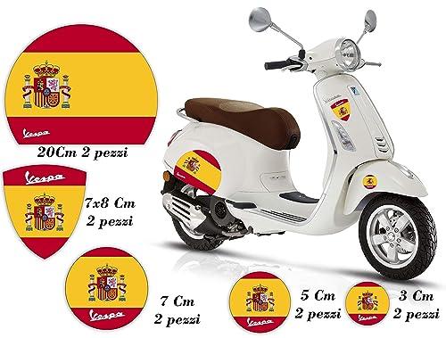 Pegatinas de motos - VESPA - BANDERA - ESPAÑA - Kit Logotipo Scudetto Círculos Casco Paneles laterales Piaggio GTS PX PRIMAVERA SPRINT ET3 ET1: Amazon.es: Handmade