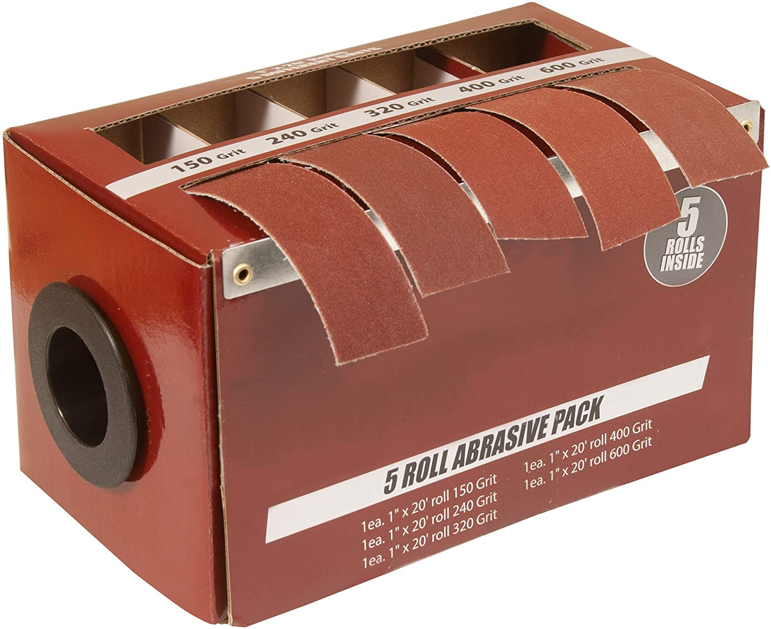 Boxed Multi-Roll Assorted Abrasive Rolls For Wood Turners, Furniture Repair, Woodworkers, Metal Workers and Automotive Body Work In Assorted Grits, Includes 150, 240, 320, 400 and 600 Grit Rolls